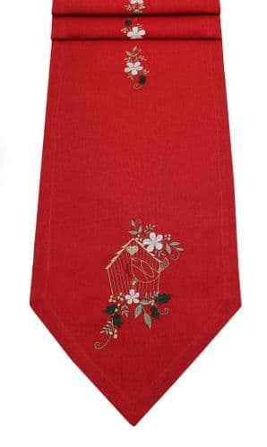 """Bird House Embroidered Table Runner 14""""x 75"""" - Red/Multicouloured"""